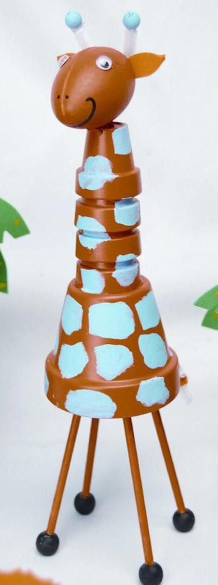 Summer Safari Clay Pot Giraffe