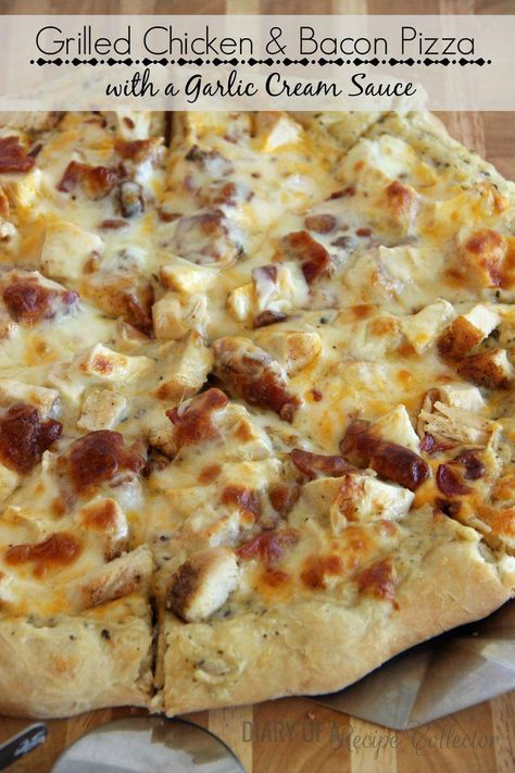 Grilled Chicken and Bacon Pizza with a Garlic Cream Sauce #pizzarecipes