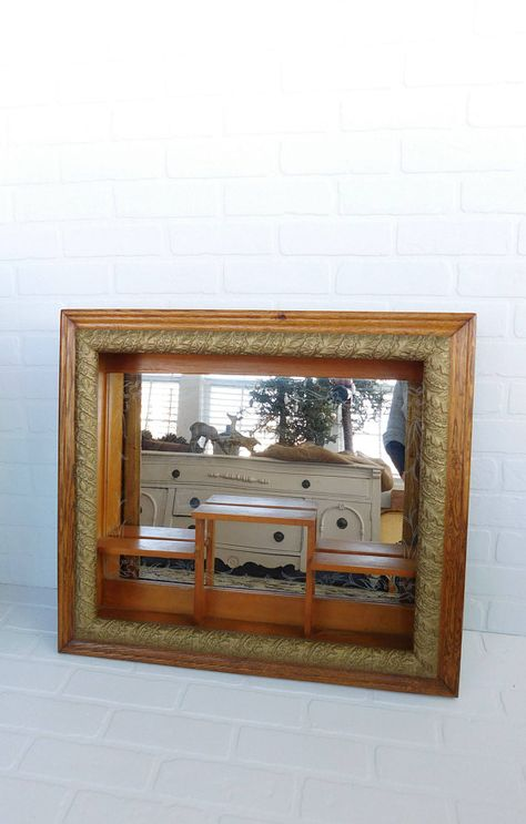 Vintage Ornate Frame Mirror Shadow Box Mirror Framed Shelf