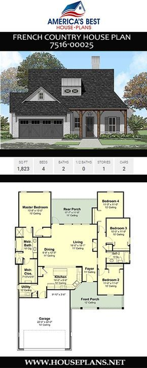 House Plan 7516 00025 French Country Plan 1 823 Square Feet 4 Bedrooms 2 Bathrooms French Country House French Country House Plans Country House Plan