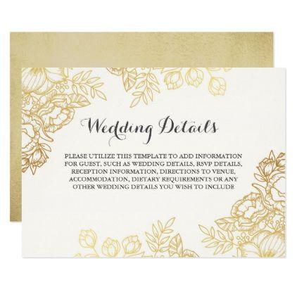 Elegant Gold Vintage Floral Wedding Details Invitation Zazzle Com Wedding Details Card Wedding Gift Diy Vintage Wedding Invitations