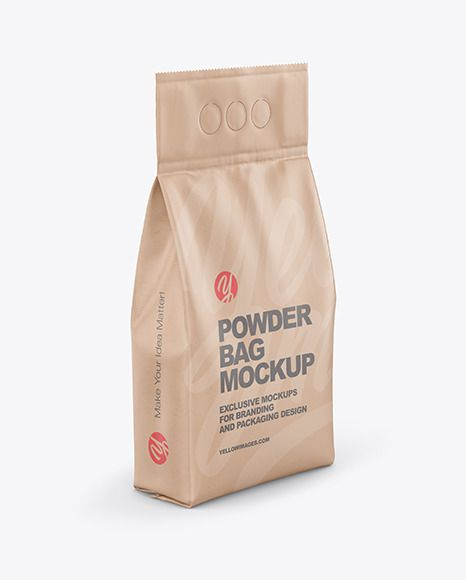 Download Kraft Powder Bag Mockup Half Side View In Bag Sack Mockups On Yellow Images Object Mockups In 2021 Bag Mockup Mockup Packaging Mockup