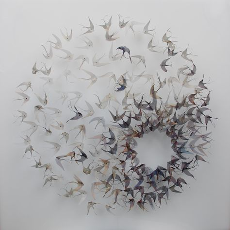 Ethereal Woven Metal Leaf and Seed Installations by Michelle Mckinney