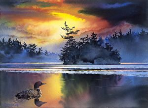 Loon Lake Giclee By David Smith Watercolor 11 X 15 Lake Painting Watercolor Water Watercolor Sunset