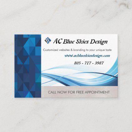 Blue Light Blue Geometric Prism Business Cards Zazzle Com Appointment Cards Business Card Size Sky Design