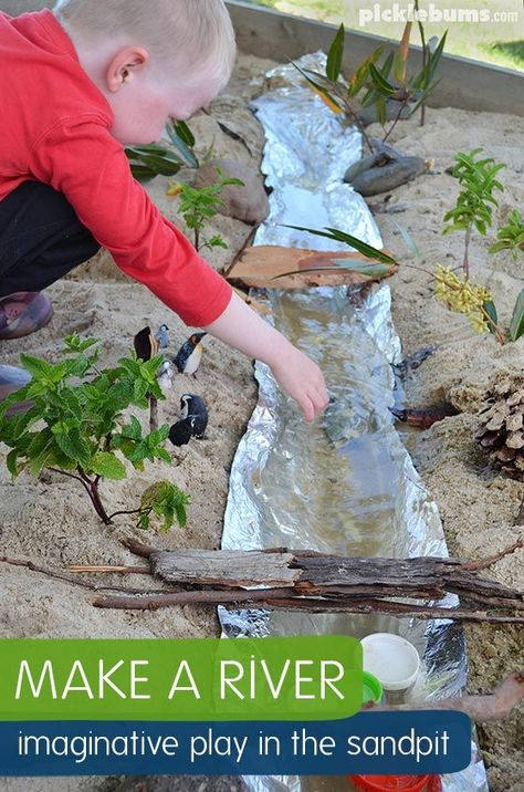 a River! Easy Imaginative Play in the Sand Pit. Make a River - imaginative play in the sand pit!Make a River - imaginative play in the sand pit! Backyard Playground, Backyard For Kids, Backyard Games, Children Playground, Outdoor Play For Toddlers, Natural Playground, Garden Games, Backyard Play Areas, Outdoor Toddler Activities