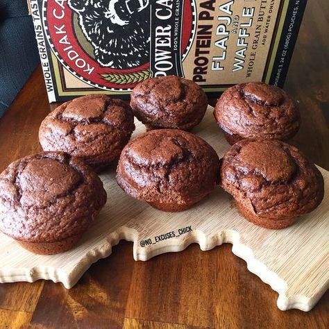 Chocolate Peanut Butter Power Muffins No Excuses Nutrition Recipe Kodiak Cakes Recipe Food Power Muffins