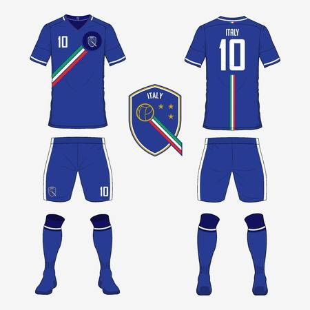 Set Of Soccer Jersey Or Football Kit Template For Italy National In 2020 Italy National Football Team Soccer Jersey Football Kits