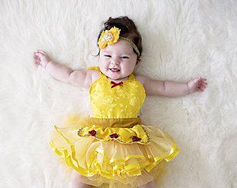 Newborn-12mths Girls Disney Princess Belle Baby Grow with Tutu
