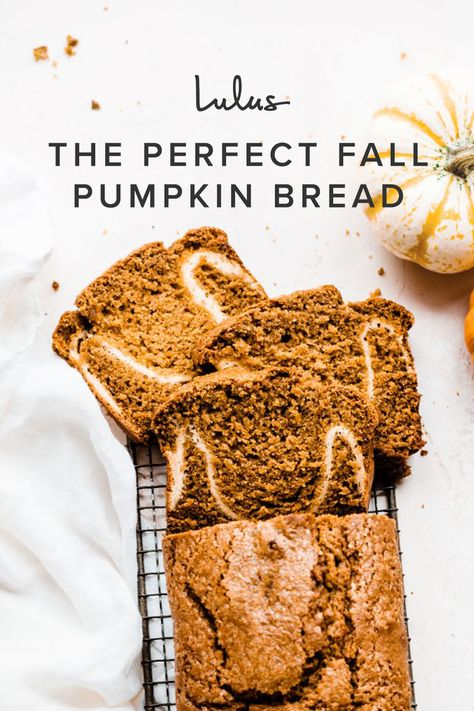 This loaf has a crisp lid, plenty of pumpkin, and a handful of the most perfect fall spices like cinnamon, nutmeg, cloves, and allspice (trust me–you don't want to skip any of these). It also has a creamy cream cheese swirl in the middle, and the bread is tender and moist!