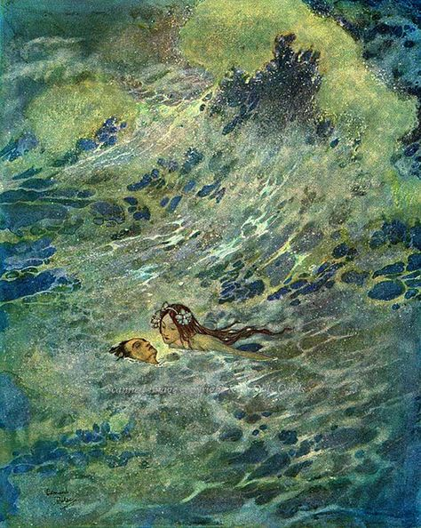 The Little Mermaid, Hans Christian Andersen, illustration by Edmund Dulac, 1911 Edmund Dulac, Mermaid Fabric, Mermaid Art, Art And Illustration, Mermaid Illustration, Vintage Illustrations, Botanical Illustration, Fata Morgana, Mermaids And Mermen