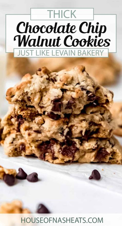 Craving Levain Chocolate Chip Cookies but don't live in New York City? I hear you! These easy Copycat Levain Chocolate Chip Cookies are thick, gooey, and loaded with chocolate chips and walnuts. These oversized behemoths are larger than life and you just might not go back to regular chocolate chip cookies after trying one of these! #chocolatechips #chocolatechipcookies #cookies #walnuts #levain #bakery #homemade #best #soft