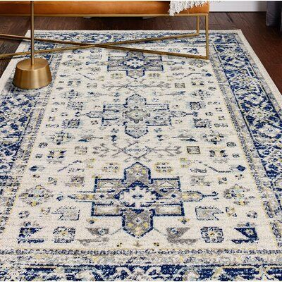 World Menagerie Chupp Ivory Blue Yellow Area Rug Rug Size Rectangle 3 6 X 5 6 In 2020 Yellow Area Rugs Blue Area Rugs Area Rugs