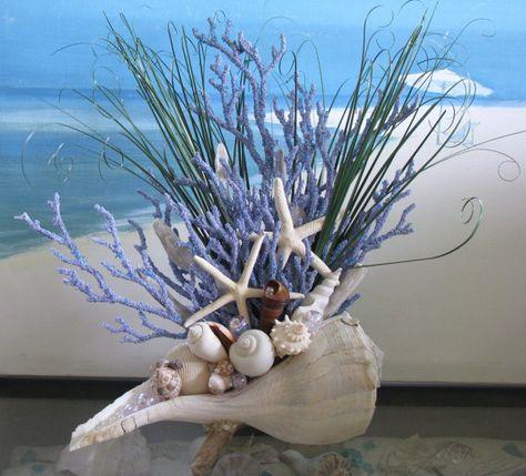 Concha playa de Coral centro de mesa tabla por CeShoreTreasures
