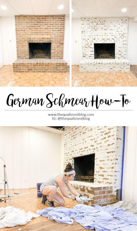 Brick Fireplace Makeover, Farmhouse Fireplace, Home Fireplace, Brick Fireplace Remodel, Brick Fireplace Decor, Painted Brick Fireplaces, My Living Room, Home And Living, Home Renovation