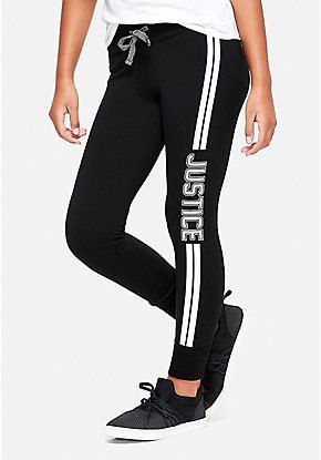 Logo Stripe Leggings Justice Clothing Outfits Girls Activewear Girls Sports Clothes