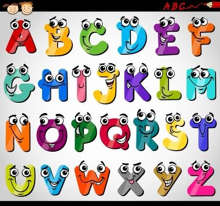Ilustracao Dos Desenhos Animados Do Alfabeto De Letras Maiusculas Engracado Para Educacao De Criancas Letras De Burbujas Moldes De Letras Bonitas Modelos De Letras