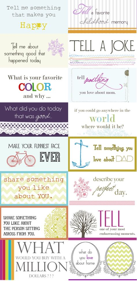 Fun printable conversation starters...great for girl's camp