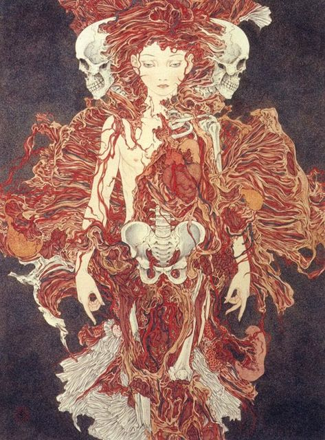 Entre o erotismo e a fantasia – As pinturas do japonês Yamamoto Takato Art Inspo, Kunst Inspo, Inspiration Art, Arte Horror, Horror Art, Art And Illustration, Ero Guro, Fantasy Kunst, Fantasy Art