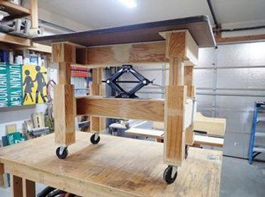 Make An Adjustable Height Table With A Car Jack Adjustable