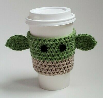 Handmade Crochet Baby Yoda Coffee Cup Cozy Baby Yoda Cup Sleeve Ebay In 2020 Handmade Crochet Coffee Cup Cozy Crochet Baby