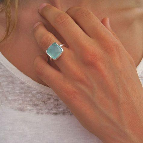 Square Aqua Chalcedony Silver Ring