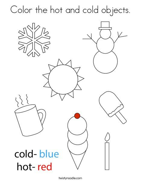 Color The Hot And Cold Objects Coloring Page Twisty Noodle Coloring Worksheets For Kindergarten Alphabet Activities Preschool January Preschool Worksheets Weather math worksheets preschool
