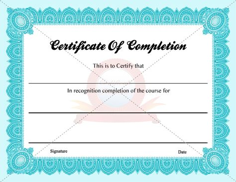 Certificate of Completion CERTIFIATE OF COMPLETION TEMPLATES