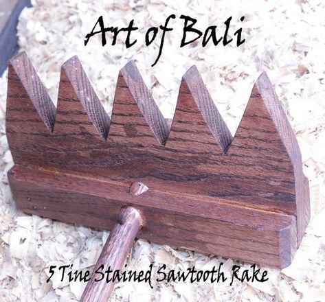 #Art #Authentic #Bali #brand #Full #Garden #Rake #Size #stained #Tine #Tooth #Zen
