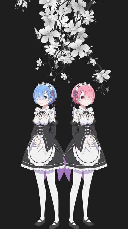 Media Ram And Rem Mobile Wallpaper Re Zero Anime Sisters Ram And Rem Kawaii Anime