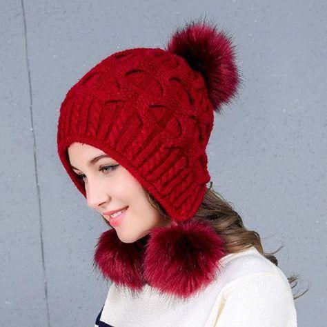 winter Women  Warm Winter Knit Wool Beanie Fur Pom Bobble Hat Crochet Cap Xmas