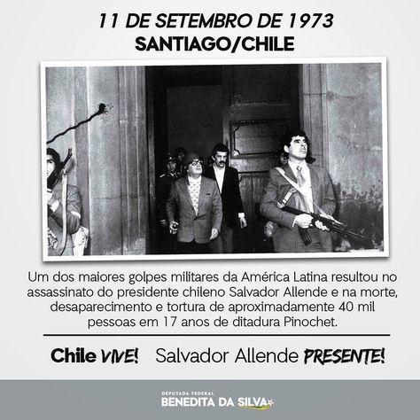 Meus sentimentos ao povo chileno! Ditadura nunca mais!  #SalvadorAllende #Chile #11deSetembro #GolpeDeEstado #AllendeVive #DitaduraNuncaMais