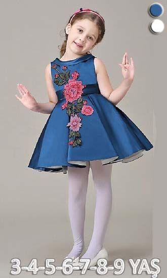 0002e6abedaad kız çocuk abiye elbise çiçek desenli,çocuk elbise modelleri ,bebek elbise,kız  çocuk elbise