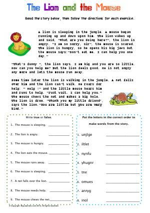 Worksheet The Lion And The Mouse Read The Classic Fable Then Unscramble The Words F Lion And The Mouse Reading Comprehension Worksheets Reading Worksheets Fables worksheet 2nd grade
