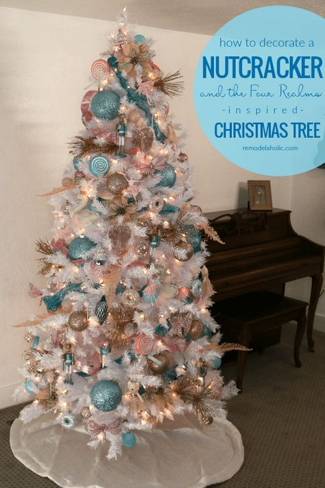 Blue Pink And Gold Nutcracker Christmas Tree Decorating Tutorial Pink Christmas Tree Pink Christmas Tree Decorations Christmas Tree Decorating Themes
