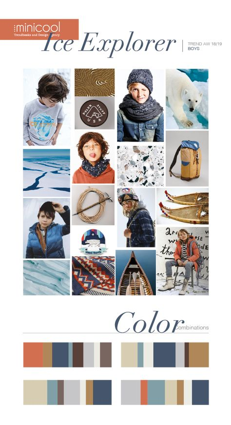 Moodboard of Ice Explorer collection, from the AW18/19 trend: Nomads #trends #moodboard #color #colorinspiration #kidsclothes #kidsfashion
