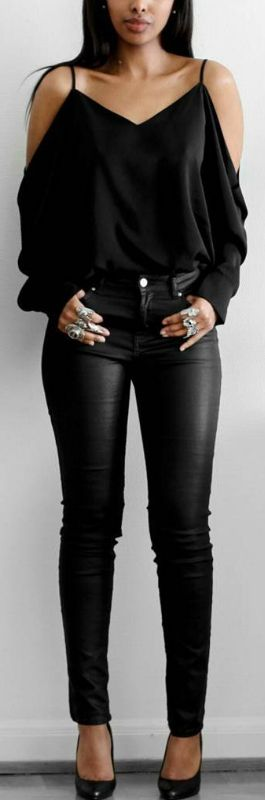 All Black // Blouse and pants H&M , heels by nellycom // Fashion Look by femmeblk