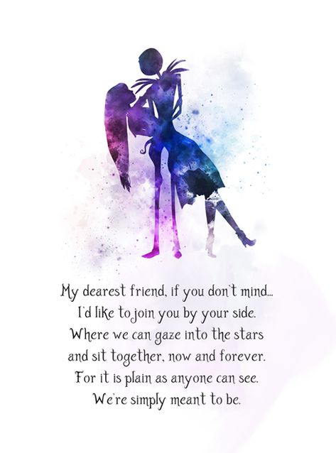 Jack and Sally Quote ART PRINT Nightmare Before Christmas, My dearest friend, Gift, Wall Art, Home Decor, Movie, Inspirational, Anniversary