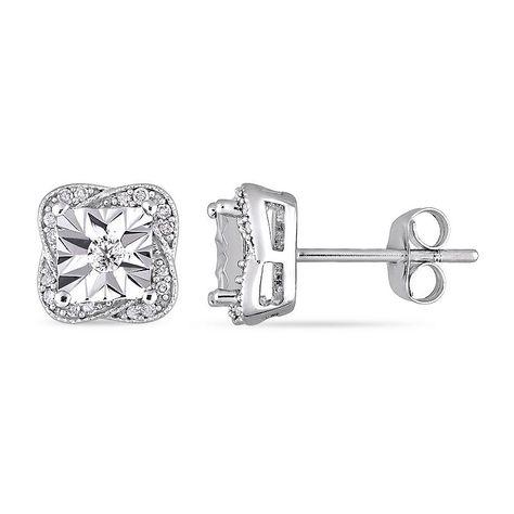 db2add577 1/6 CT. T.W. Genuine White Diamond 10K White Gold 8.6mm Stud Earrings