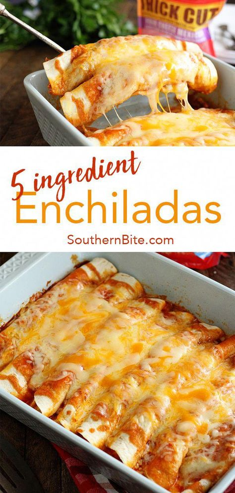 These quick and easy enchiladas only call for 5 ingredients and are ready in no time! It's the perfect recipe for a busy weeknight! #recipe #southernbite #enchiladas #easy #quick #weeknight #healthycookingideas,healthyrecipes,saladrecipes,healthymeals,easyrecipes,easyhealthyrecipes,simplerecipes,bestrecipes,cookinglightrecipes,quickeasymeals,quickhealthymeals,healthymealideas,goodrecipes,healthysaladrecipes,easyfoodrecipes,quickeasyrecipes