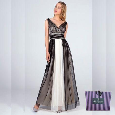 Maxi αέρινο φόρεμα Angelo κρουαζέ ασπρόμαυρο που έχει V βαθειά λαιμόκοψη  και V ανοικτή πλάτη. Κλείνει e04b578be38