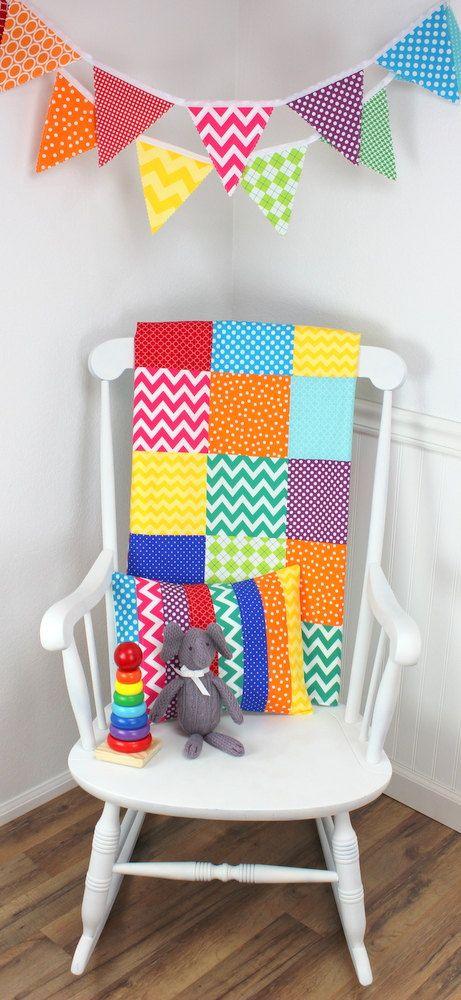 Baby Blanket , Gender Neutral Blanket, Minky Patchwork Blanket, Photography Prop, Nursery Decor, Rainbow Unisex Nursery, Playroom, Chevron