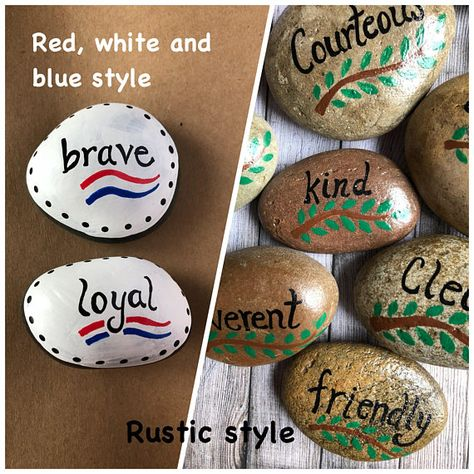 Boy Scouts Law Twelve Points Set of 12 Painted Stones