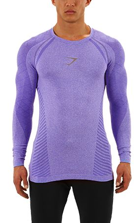 Mens Avant Seamless Long Sleeve T-Shirt | Purple | Gymshark ...