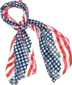 """This American flag scarf is one of our most popular #patriotic products! Perfect for showing American pride everyday or for special events. 13 x 60"""", polyester, washable. $9.95"""