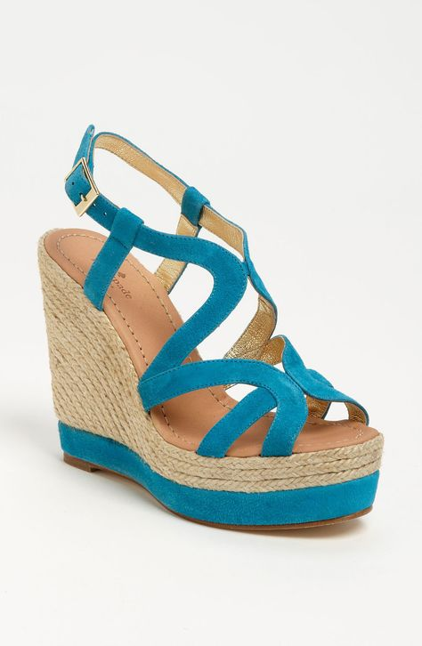5f4d1d7c61 Kate Spade Liv Wedge Sandal in Blue (turquoise suede) | Lyst | Step ...