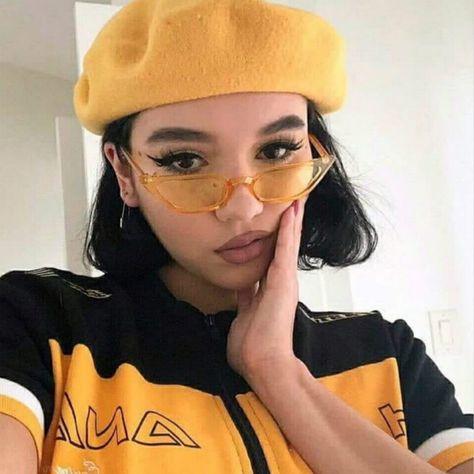 New Cat Eye Sunglasses Women Small Vintage Brand Designer Sun Glasses Yellow ladies