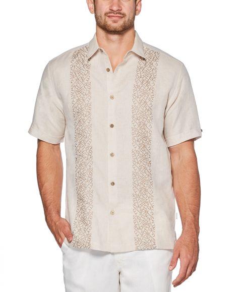 Cubavera Men's Big & Tall Embroidered Shirt - Oxford Tan