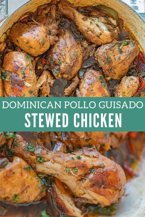 Flavorful, tender and juicy. Served with some white rice and you are culinary heaven! Stewed Chicken, Stew Chicken Recipe, Chicken Recipes, Dinner Dishes, Dinner Recipes, Dinner Ideas, Cooking Recipes, Healthy Recipes, Cuban Recipes