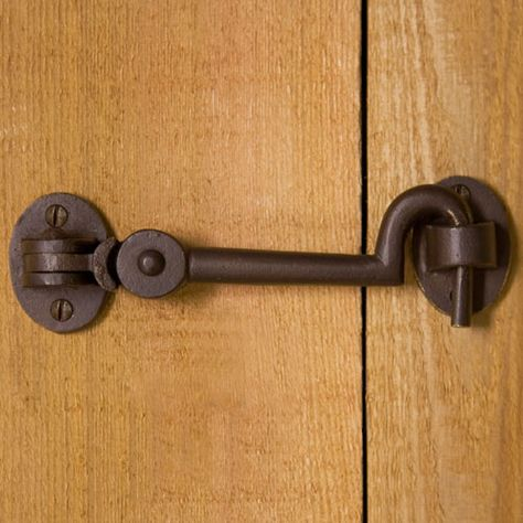 Solid Bronze Cabin Door Hook Latch---sliding rail barn door to bathroom lock on interior